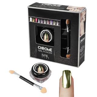 Nail Plus - Chrome Nail Powder - Gold Green