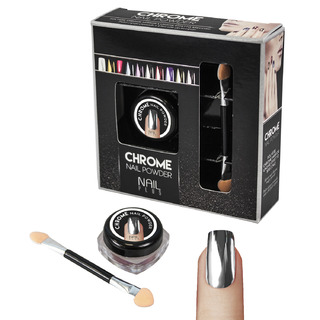 Nail Plus - Chrome Nail Powder - Dark Silver