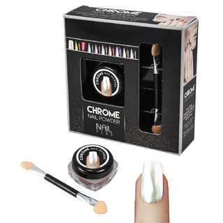 Nail Plus - Chrome Nail Powder - White Mirror Silver