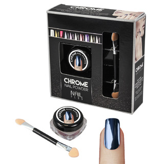 Nail Plus - Chrome Nail Powder - Dark Blue